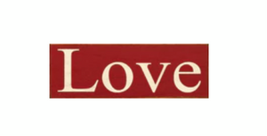 Love- Wood Sign- Red with Cottage White
