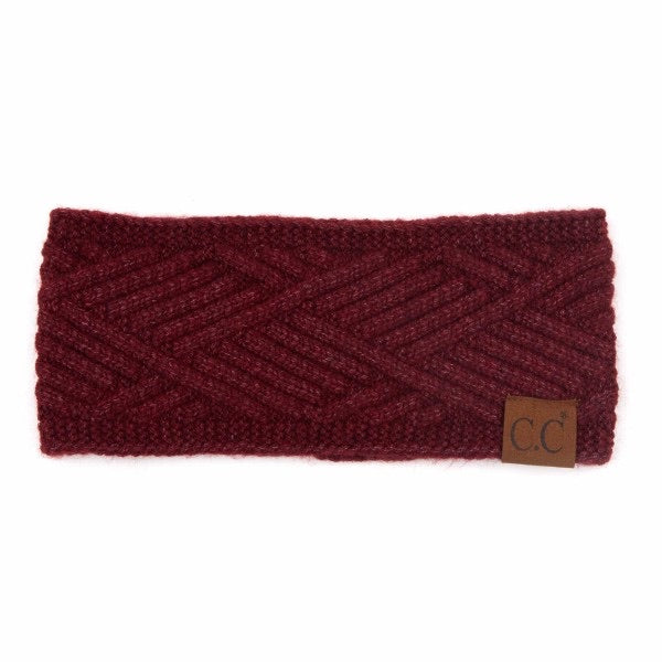 Diagonal Stripe Criss-Cross Knit Pattern Head Wrap-Berry Mix