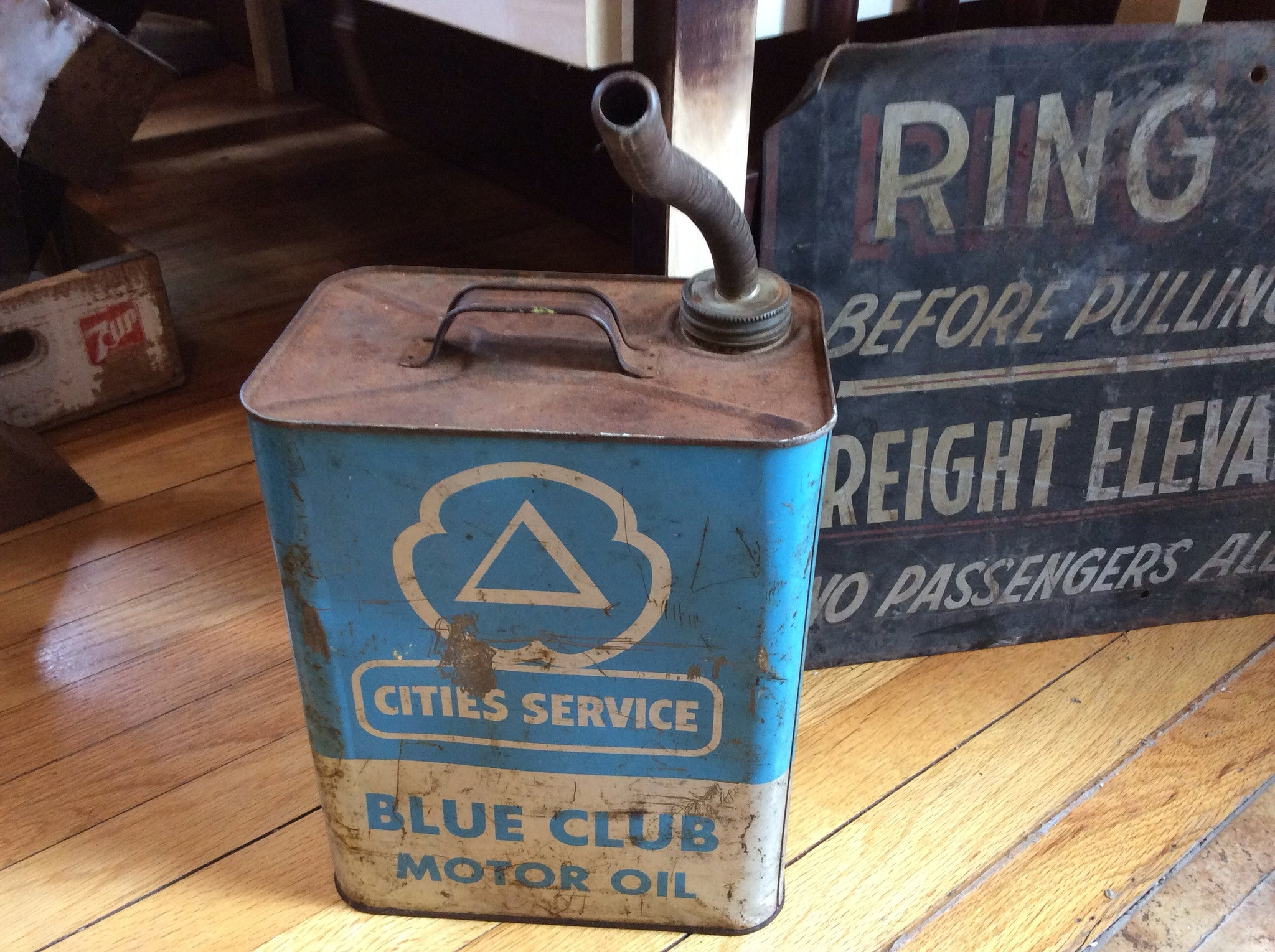 City Services Blue Club Motor Oil Can Red Barn Company