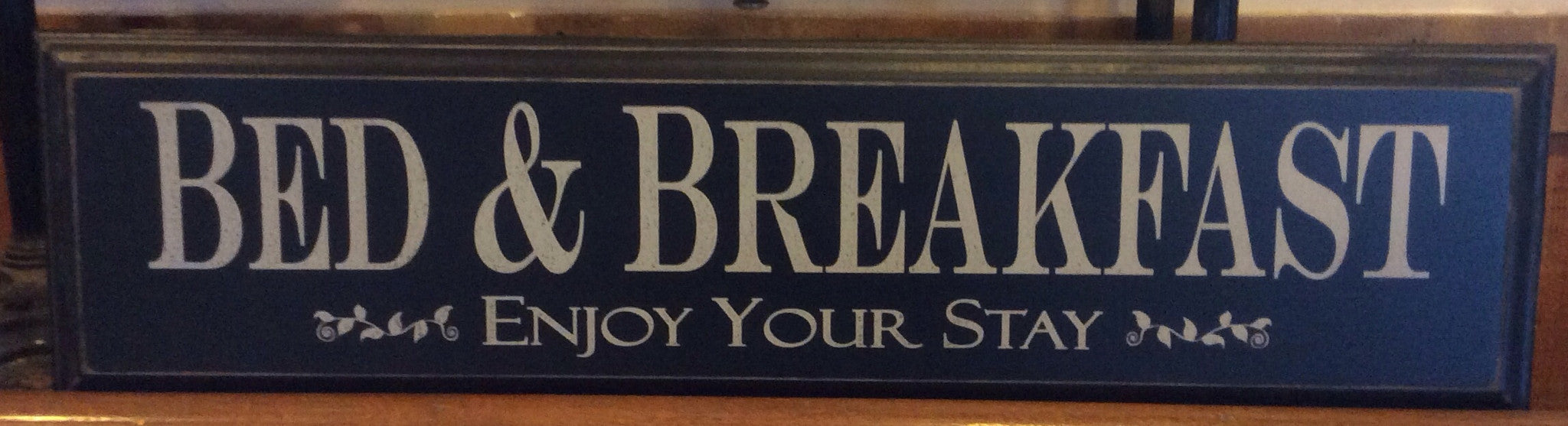 "Bed & Breakfast- Enjoy Your Stay- Painted Wood Sign with Routered Edge- 9 1/4"" x 35 3/4""- Black with Cream Letters"