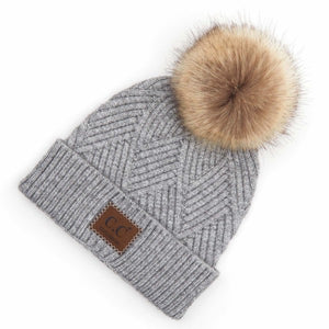 Diagonal Stripe Knit Pattern Pom Beanie- Light Melange Grey