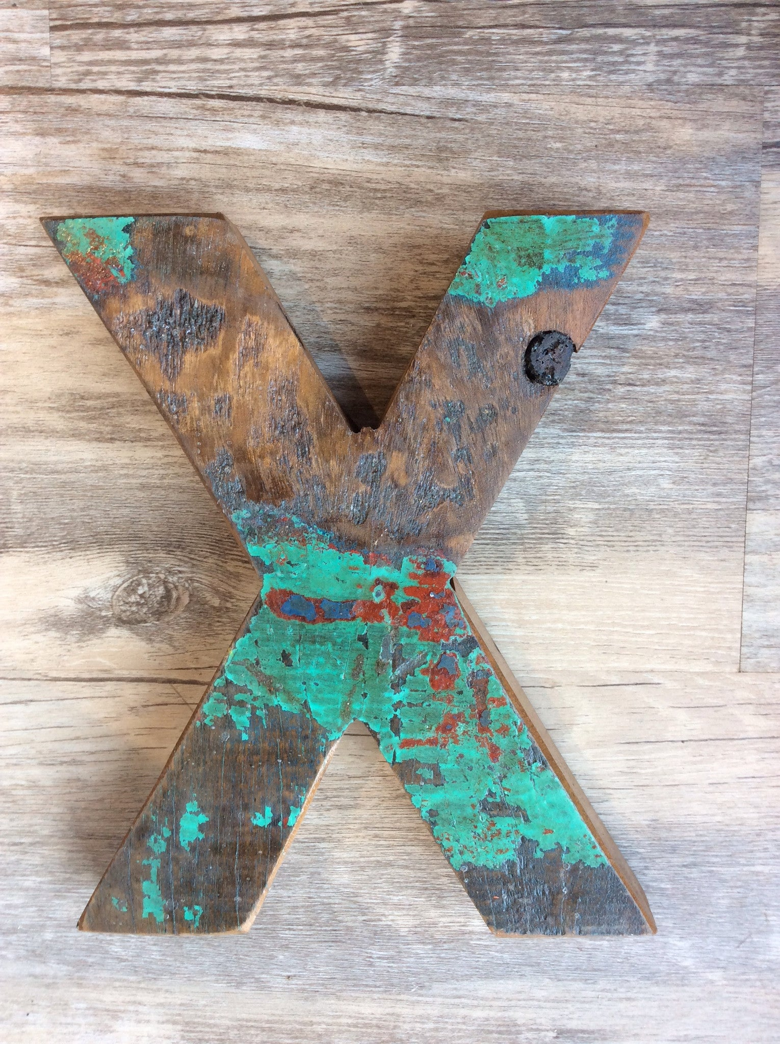 "Letter X - Retired Bali Fishing Boat Furniture - 7""x4"" - #10198-X"