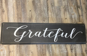 Grateful - Capital G - Painted Sign - Old Charcoal with Cottage White Lettering