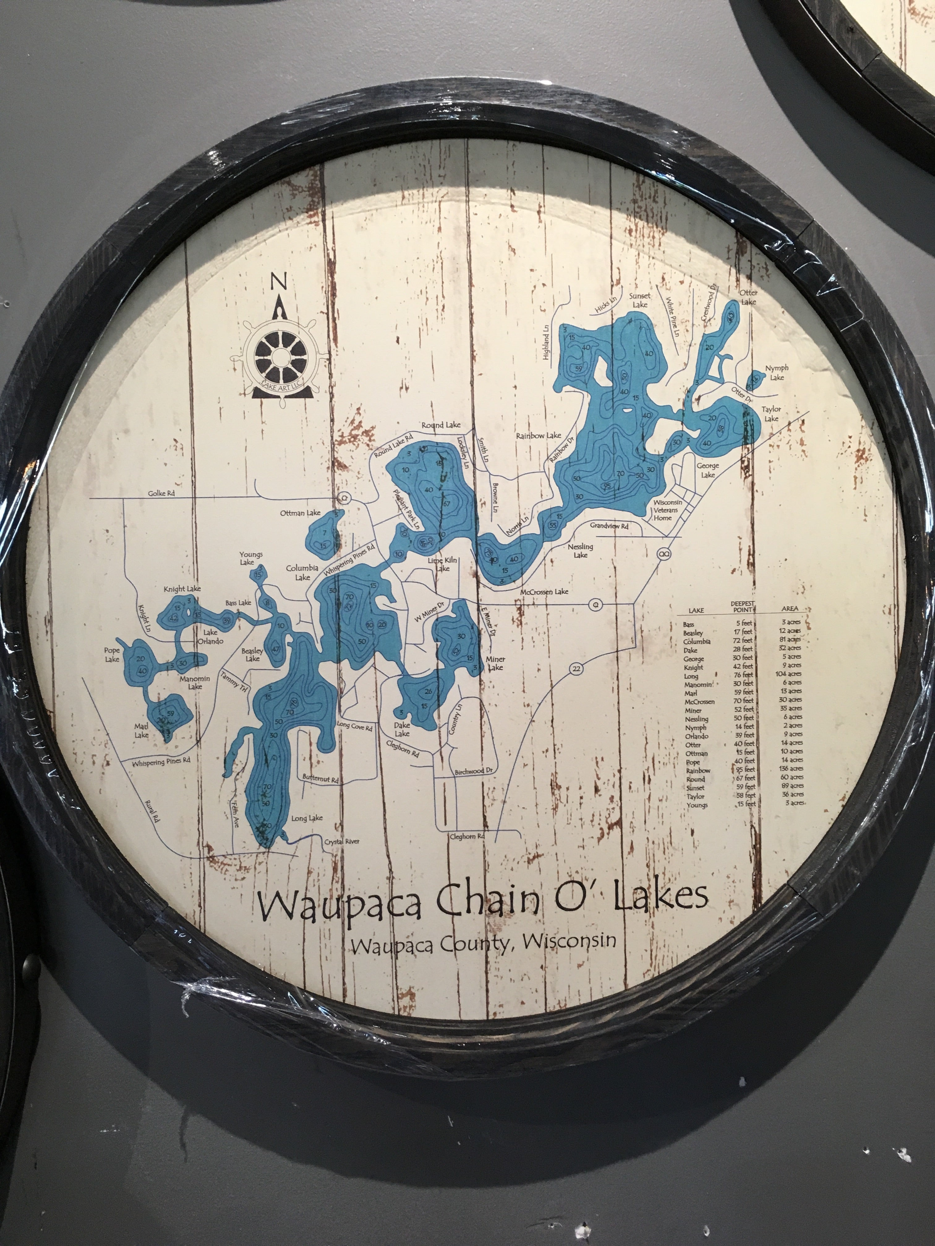 "Waupaca Chain Of Lakes  - Barrel End Style Lake Art - 23"" Round"