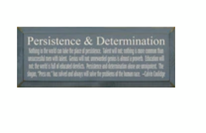"Persistence and Determination- Calvin Coolidge Quote Wood Sign-Walnut Stain with Cottage White Lettering- 7""x18"""
