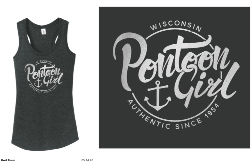 Pontoon Girl-Racerback Tank-Black Frost with Silver Foil Print