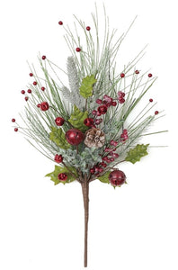 "Pine With Bell Iced Bush 14.5""L x 4""W x 22""H"