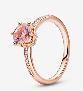 Sparkling Crown Solitaire-Pink Crystal and Clear CZ-Pandora Ring
