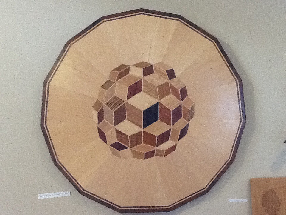 Inlayed Wood Wall Art- Round II Sphere of Cubes