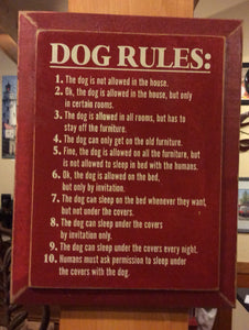 Dog Rules - Wood Sign - Red with Cottage White