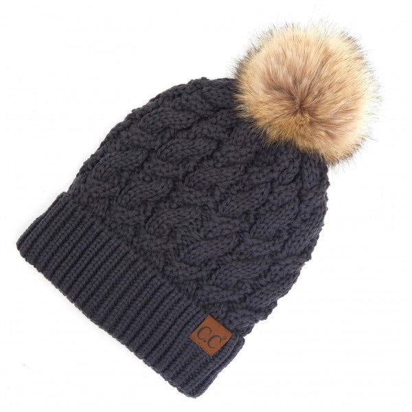 Twisted Knit Pom Beanie Featuring Faux Fur Inside Lining- Dark Melange Grey
