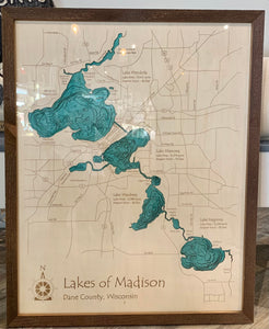Lakes of Madison-Bathymetry-24x30 with Plexiglass