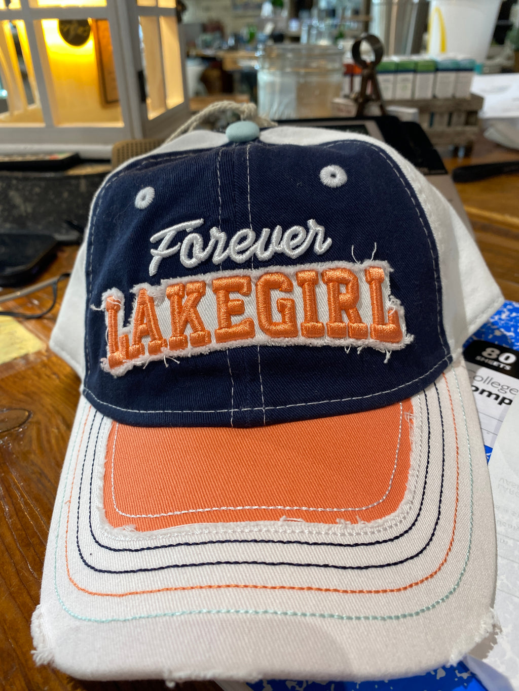 Lakegirl Jeanie Mesh Cap - Navy and melon