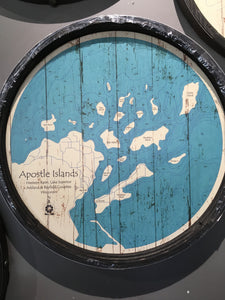 "Apostle Islands - Barrel End Style Lake Art - 23"" Round"