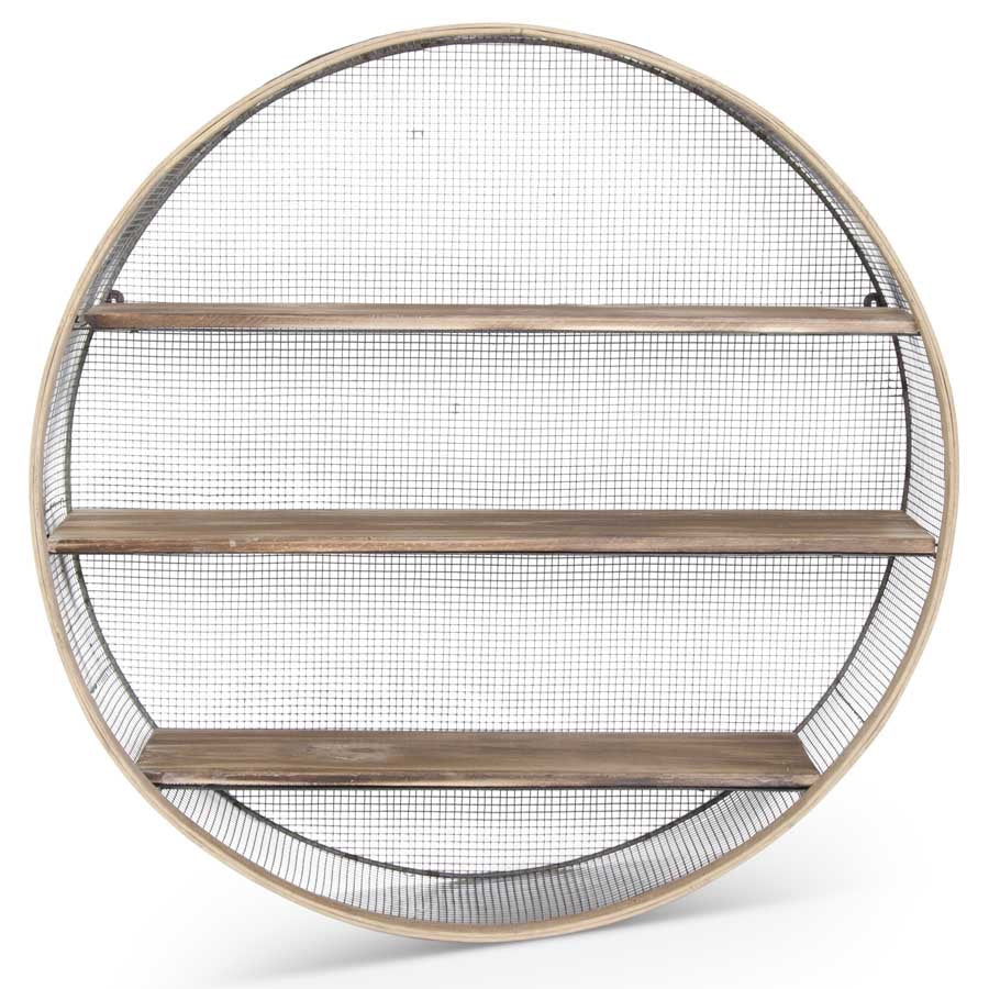 27.75 Inch Round Metal Mesh and Wood Wall Shelf