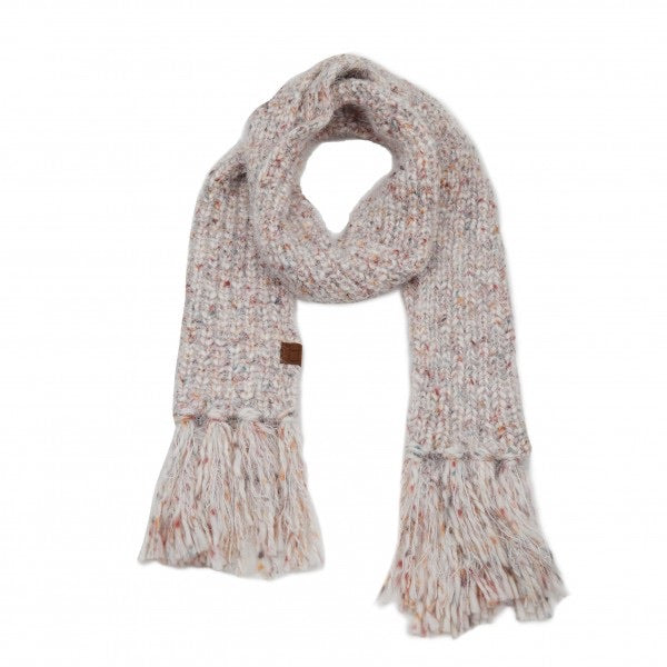 Multicolor Feather Yarn Knit Scarf Featuring Fringe Tassels- Ivory