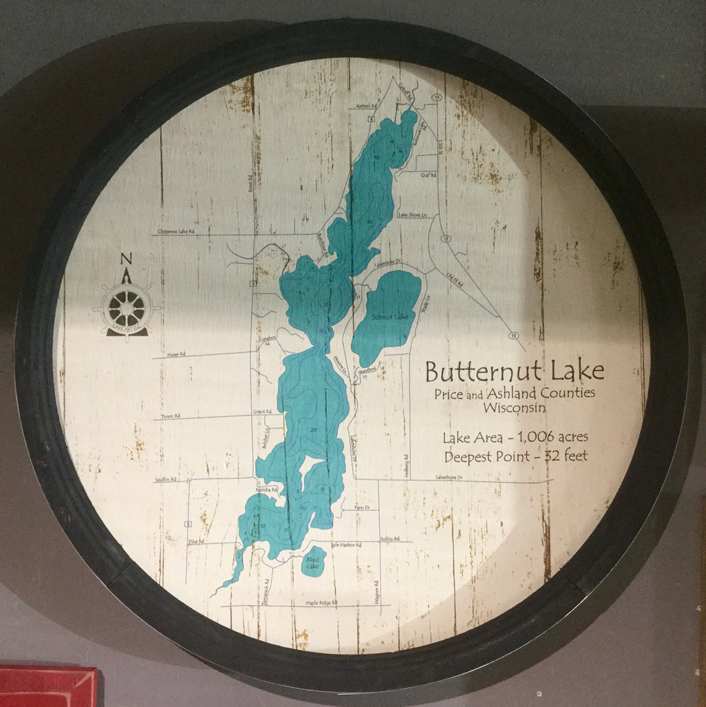 "Special Order/Custom Lake (Your Lake Map) - Barrel End Lake Art - 23"" Round"