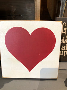 Heart Sign-Old Cottage White With Red Lettering