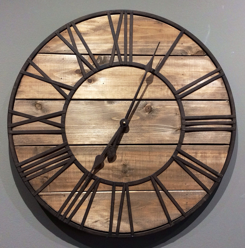 Clock - Round Wood and Metal - Roman Numeral Clock