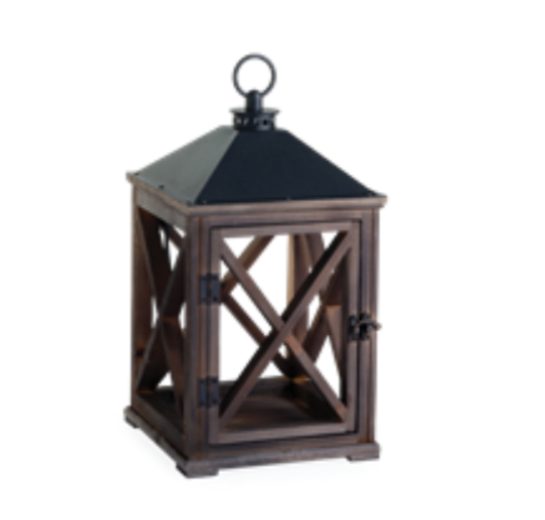 Weathered Espresso Wooden Candle Warmer Lantern