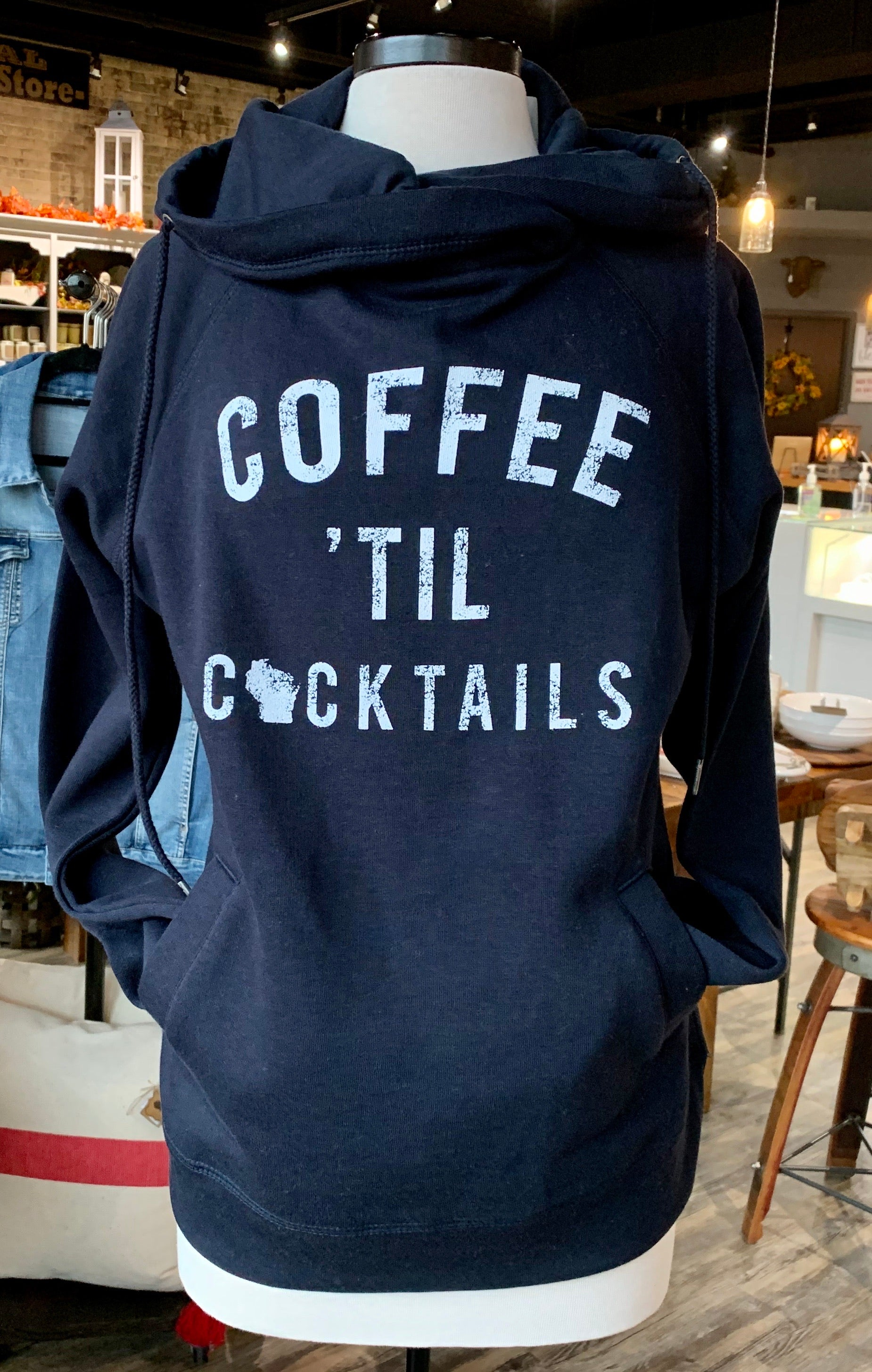 Coffee til Cocktails Sweatshirt-Navy with white lettering