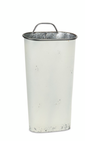 White Metal Wall Bucket- 2 sizes- sold separately
