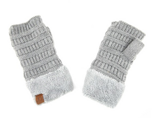 Shearling Fingerless Gloves- Light Melange Grey