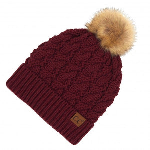 Twisted Knit Pom Beanie Featuring Faux Fur Inside Lining- Maroon