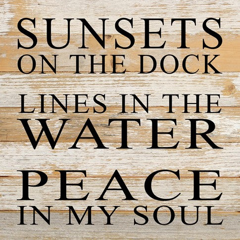Sunsets on the dock - Painted Sign - 14x14