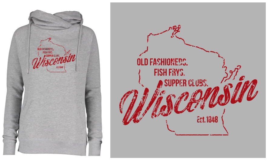 Old Fashioneds Fish Frys and Supper Clubs-Sweatshirt (Gray with Red Lettering)