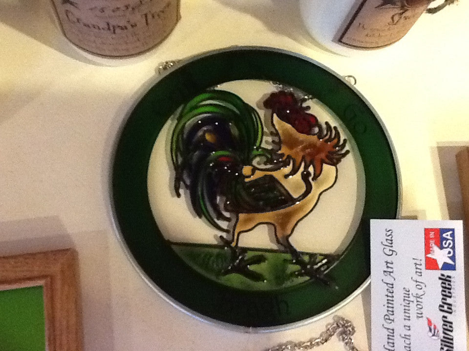 "Rooster Erin Go Bragh- Painted Glass 7"" Round"