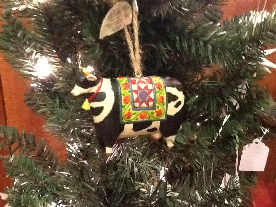 Jim Shore- Farm Animals- Cow with Quilt Ornament