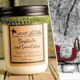 1803 Candles- 14oz Jar - Sleigh Bells and Snowflakes