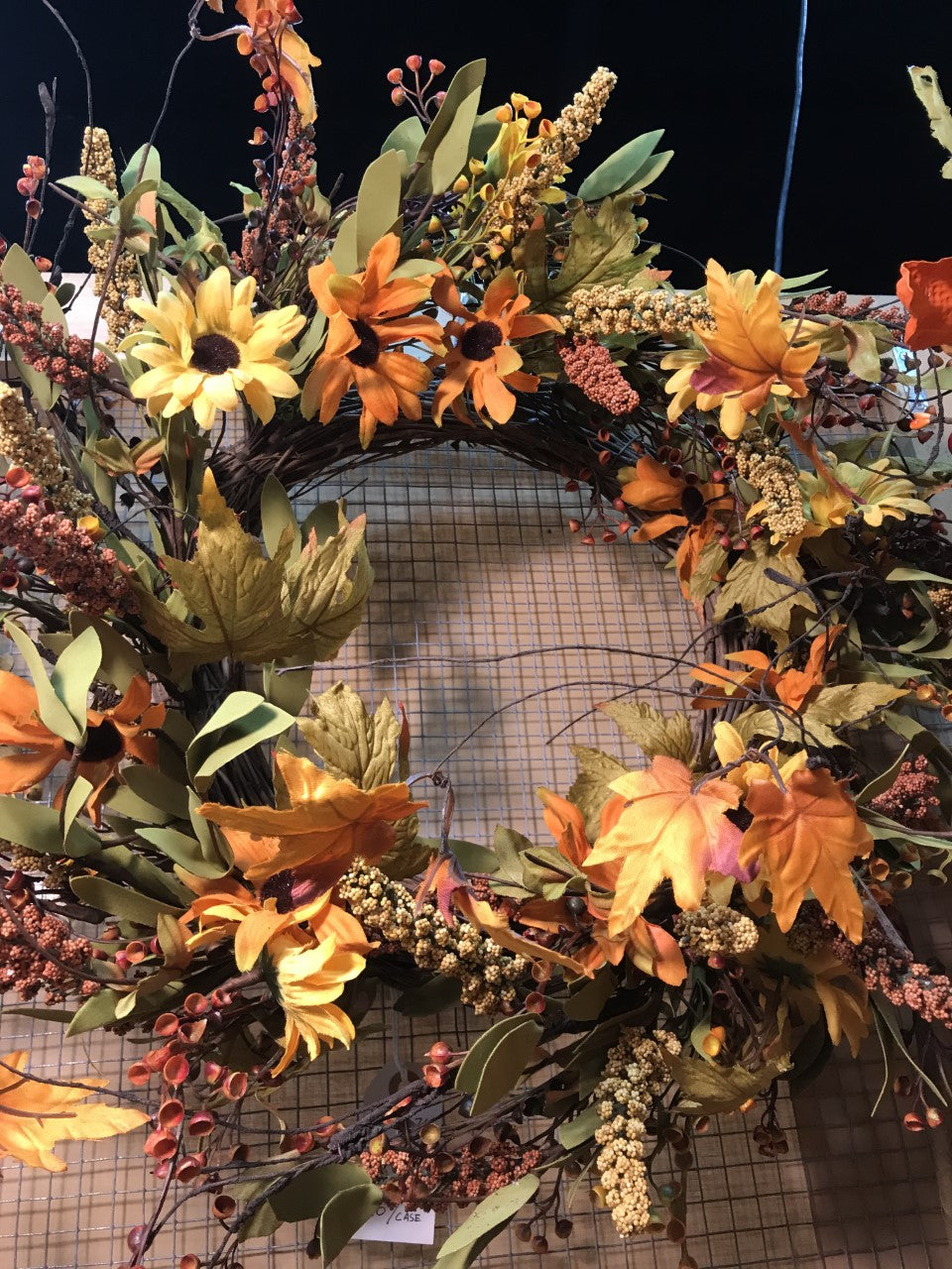 Fall leaf and Sunflower wreath- YYW6071