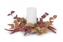 FALL LEAF AND PINECONE CANDLE RING 13""