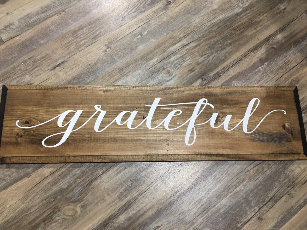 Grateful - lowercase g - Painted Sign