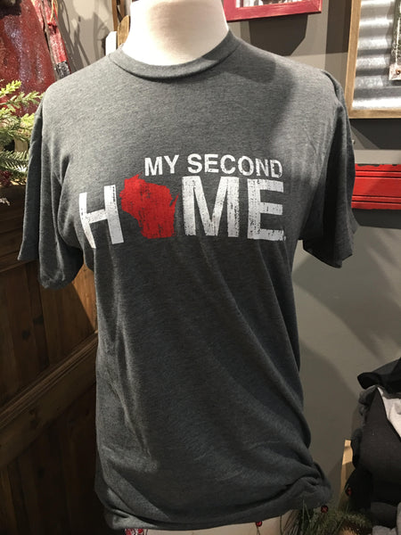cb4aaa73f WI My Second Home Unisex Tee Red/White - My State Threads