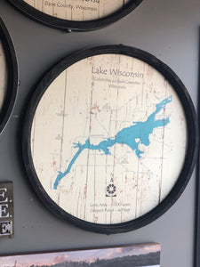 "Lake Wisconsin - Barrel End Style Lake Art - 23"" Round"
