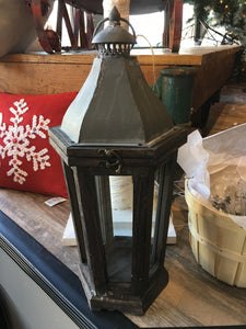 Galvanized Metal and Wood Lantern Small