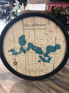 "Lake Jefferson MN - Barrel End Style Lake Art - 23.75"" Round"
