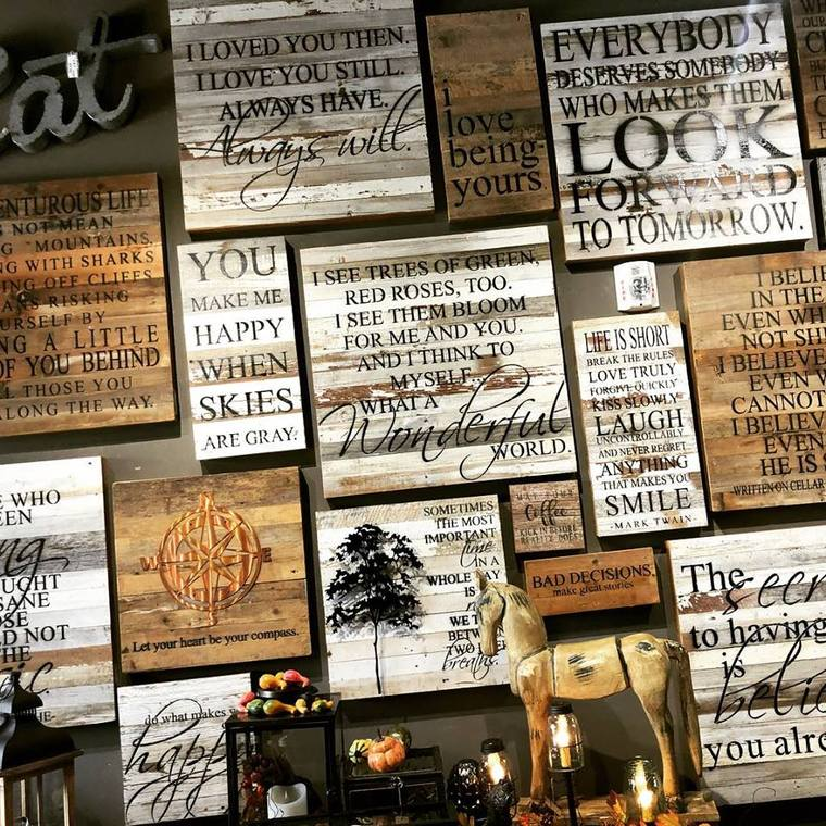 just a sample of our reclaimed wood wall art