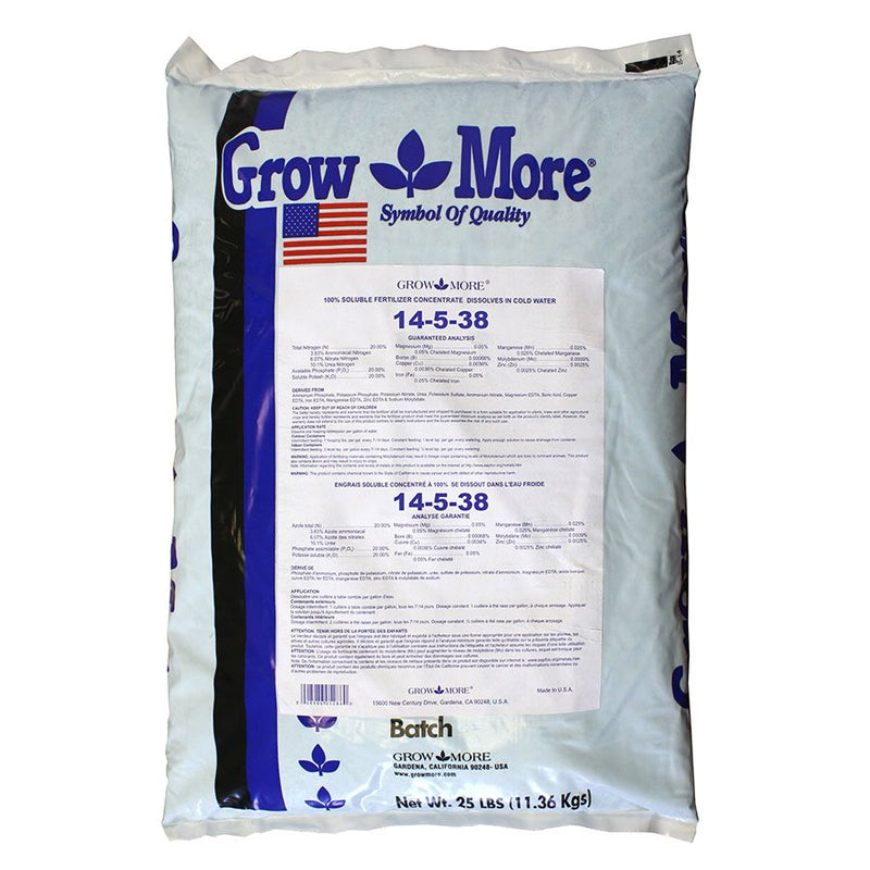 GROWMORE SOLUBLE FERTILIZER 14-5-38 11.36KG - HydroponicsClub
