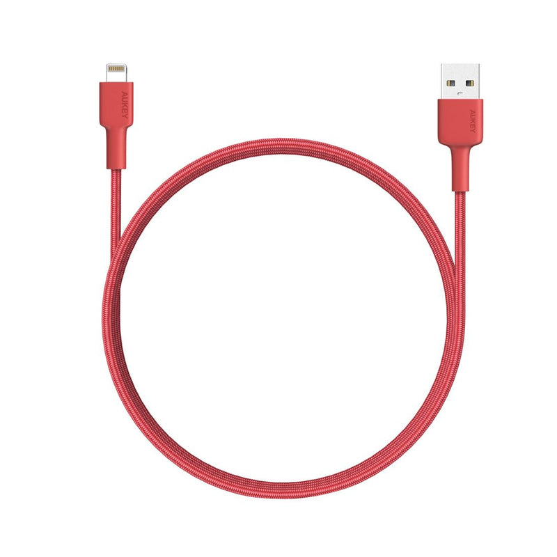 Aukey Braided Nylon MFI Lightning Cable - 1.2 meter Red