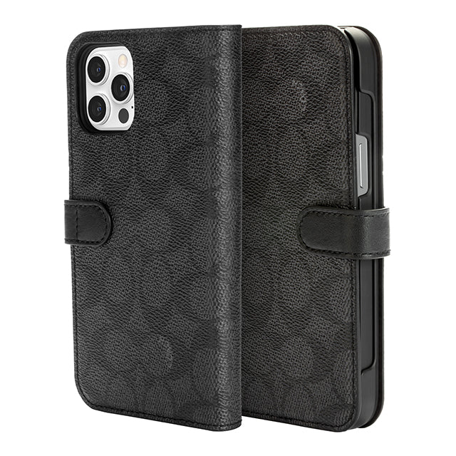 Coach Slim Wrap iPhone 12 Series Flower Bow Signature C Black