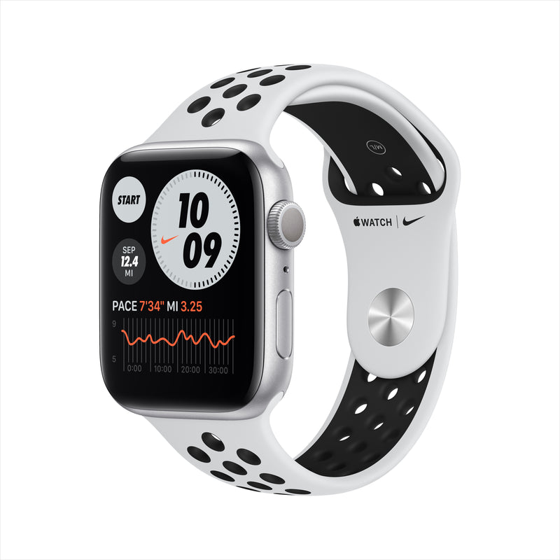 Apple Watch Nike Series 6 GPS - Silver Aluminum Case with Pure Platinum/Black Nike Sport Band