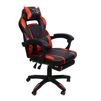 Silla Gamer Chaser, Reclinable, Reposa Pies, Soporte Cervical y Lumbar, Color Negro / Rojo, Max. 120 Kg, CHASER CH-GAMERRED