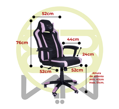 Silla Gamer Chaser, Reposa Brazos, Soporte Cervical y Lumbar, Color Rosa, Max. 110 Kg, CHASER CH-FIREPINK