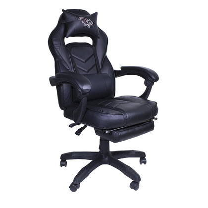 Silla Gamer Chaser, Reclinable, Reposa Pies, Soporte Cervical y Lumbar, Color Negro, Max. 120 Kg, CHASER CH-GAMERFIBER