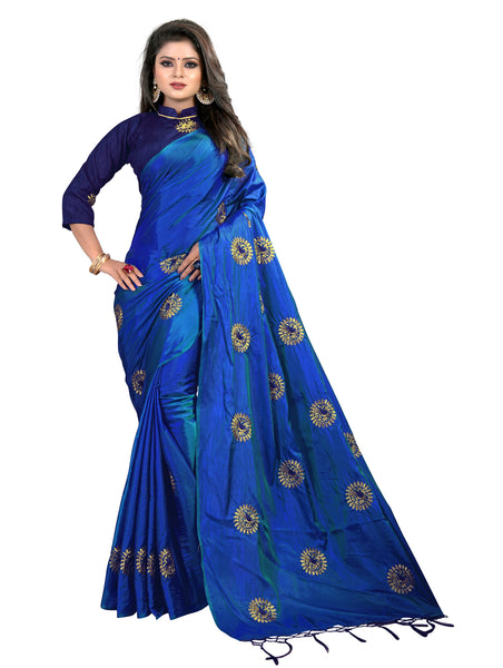 Women Blue Paper SIlk Embroidery Saree With Blouse Piece