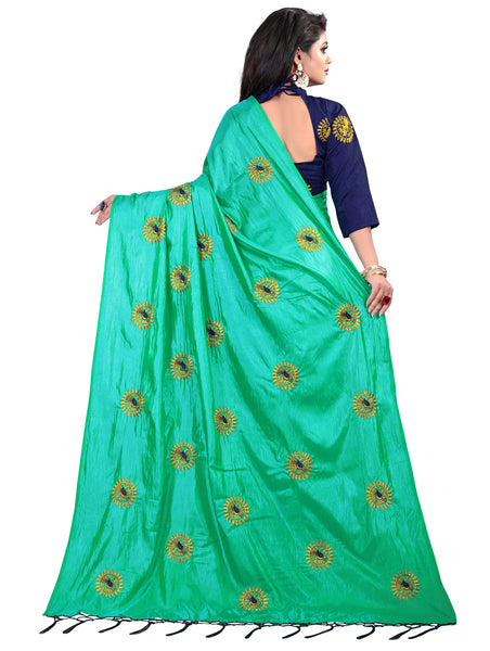 Women Green Paper SIlk Embroidery Saree With Blouse Piece